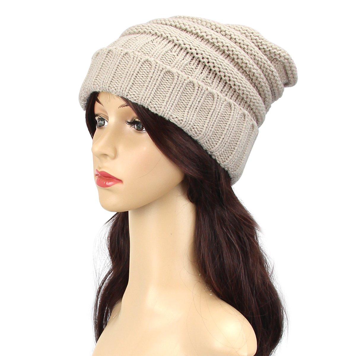 Aszune Warm Beanie Cap Oversized Knitting Hat Unisex Wool Cap (Beige)