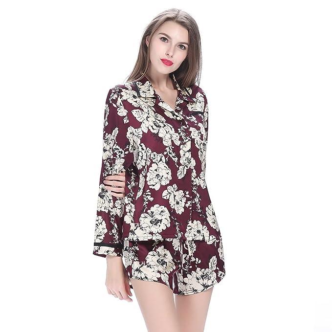 Conjunto De Pijamas De Seda Corto Rojo Vino Para Mujer Con Patrones De Flor