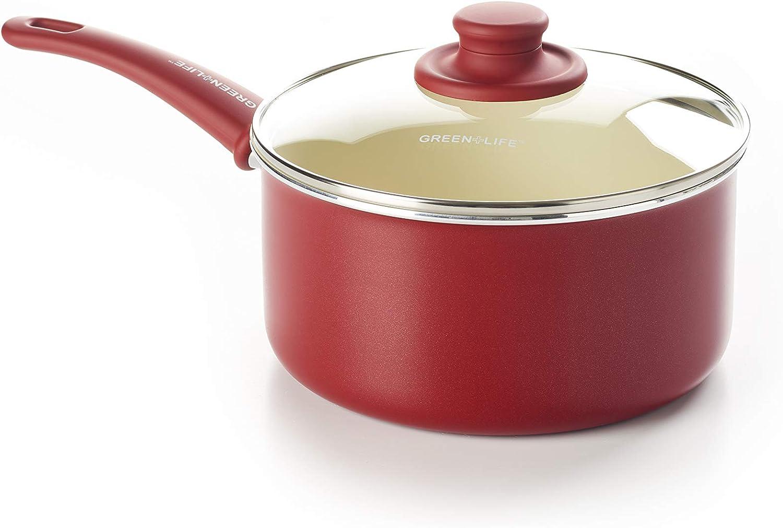 GreenLife CC001698-001 Soft Grip 3QT Ceramic Non-Stick, Red