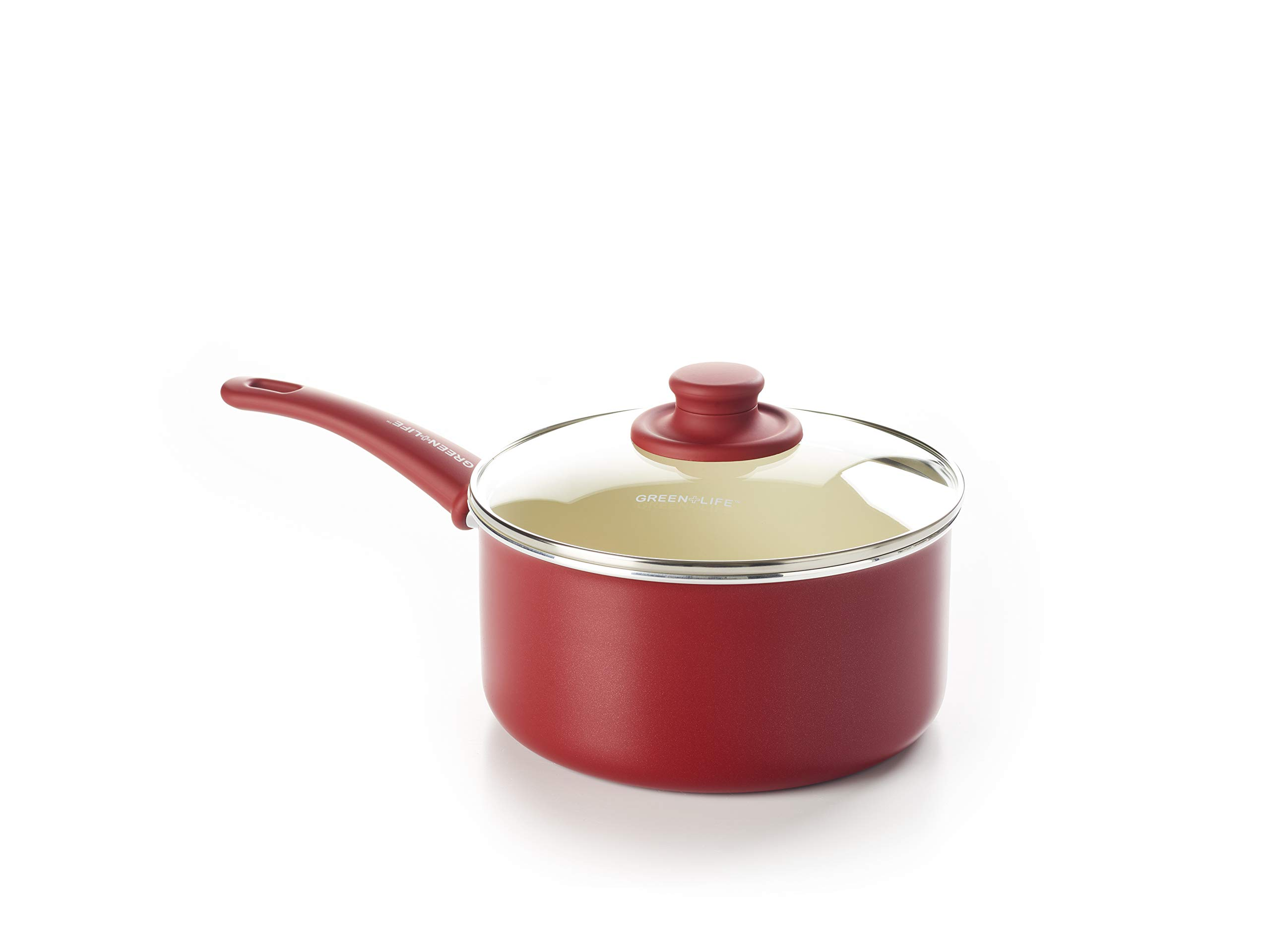 GreenLife CC001698-001 Soft Grip 3QT Ceramic Non-Stick, Red by GreenLife (Image #1)