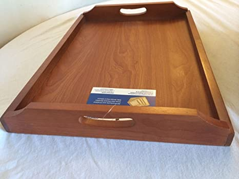 Bandeja con asas tamaño grande de madera para servir 48 cm X 35 cm X 6