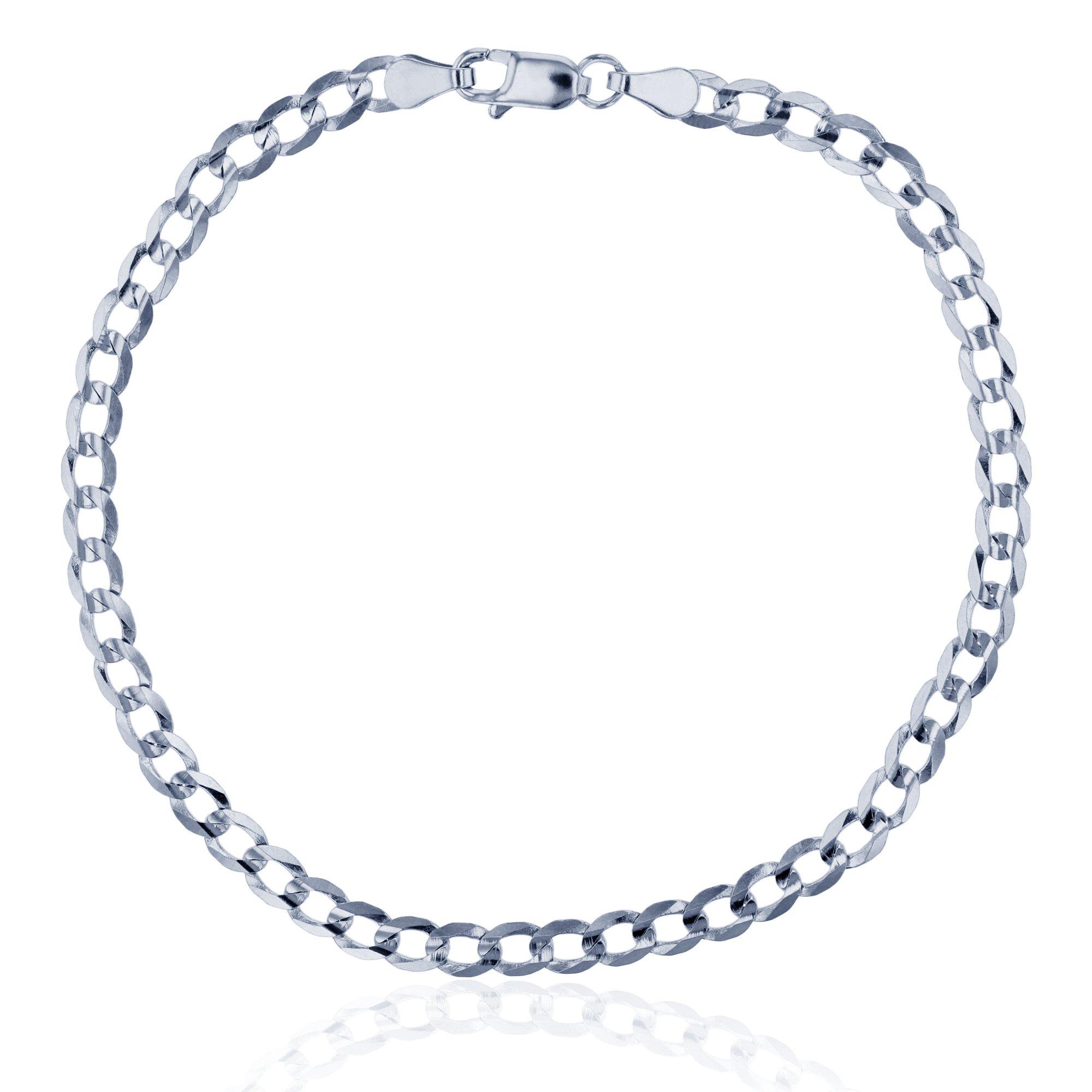 14K White Gold 3.90mm 8'' Concave Curb Flat Lite 100 Chain Bracelet