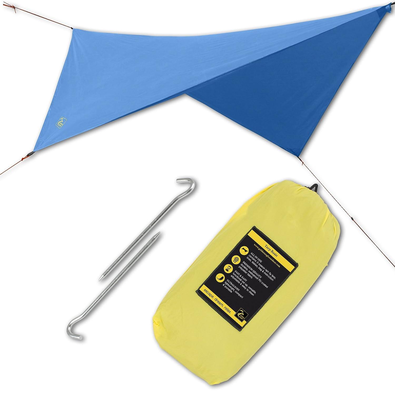 ハンモック雨Sun Flyテントタープキャンプ防水シェルター。軽量、簡単なセットアップ、最高品質ポリエステル190t。126 x 126 in/320 x 320 cm。 B078HL4RDL  ダークブルー