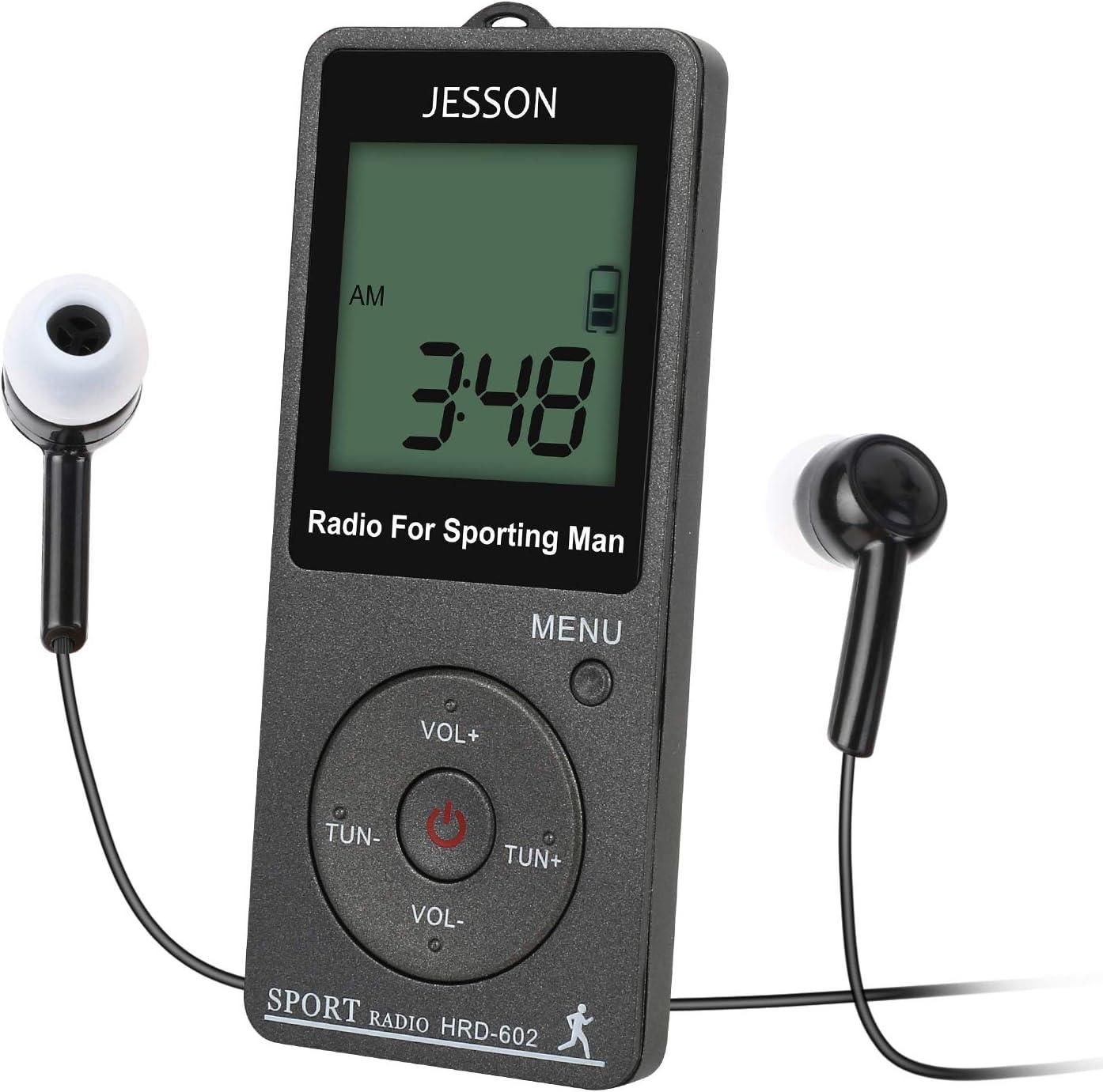 Radio Am FM portátil de Bolsillo JESSON con batería Recargable y Auriculares, Radio Transistor Digital con podómetro, Temporizador de sueño y Reloj para Caminar (Gris): Amazon.es: Electrónica