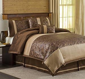 Lush Decor Metallic Animal 6-Piece King Comforter Set, Brown/Gold