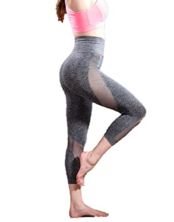 ce6af1e4aa7c4 Amazon.com: Mesh Patchwork Yoga Pants Women Fitness Sports Leggings Gym  Cropped Trouser Leggins Running Tights: Clothing