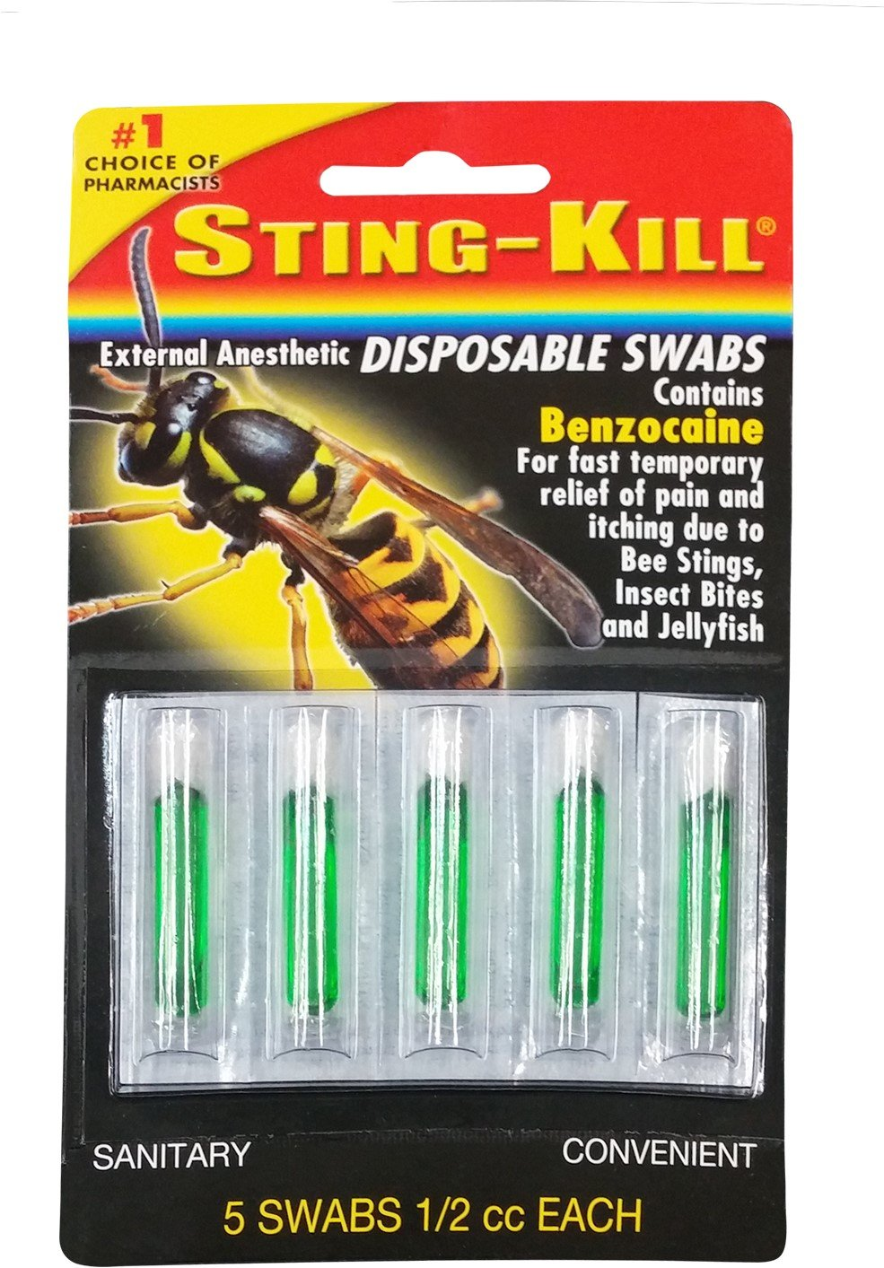 Sting-Kill Disposable Swabs 5 Each (Pack of 12) by Sting-kill
