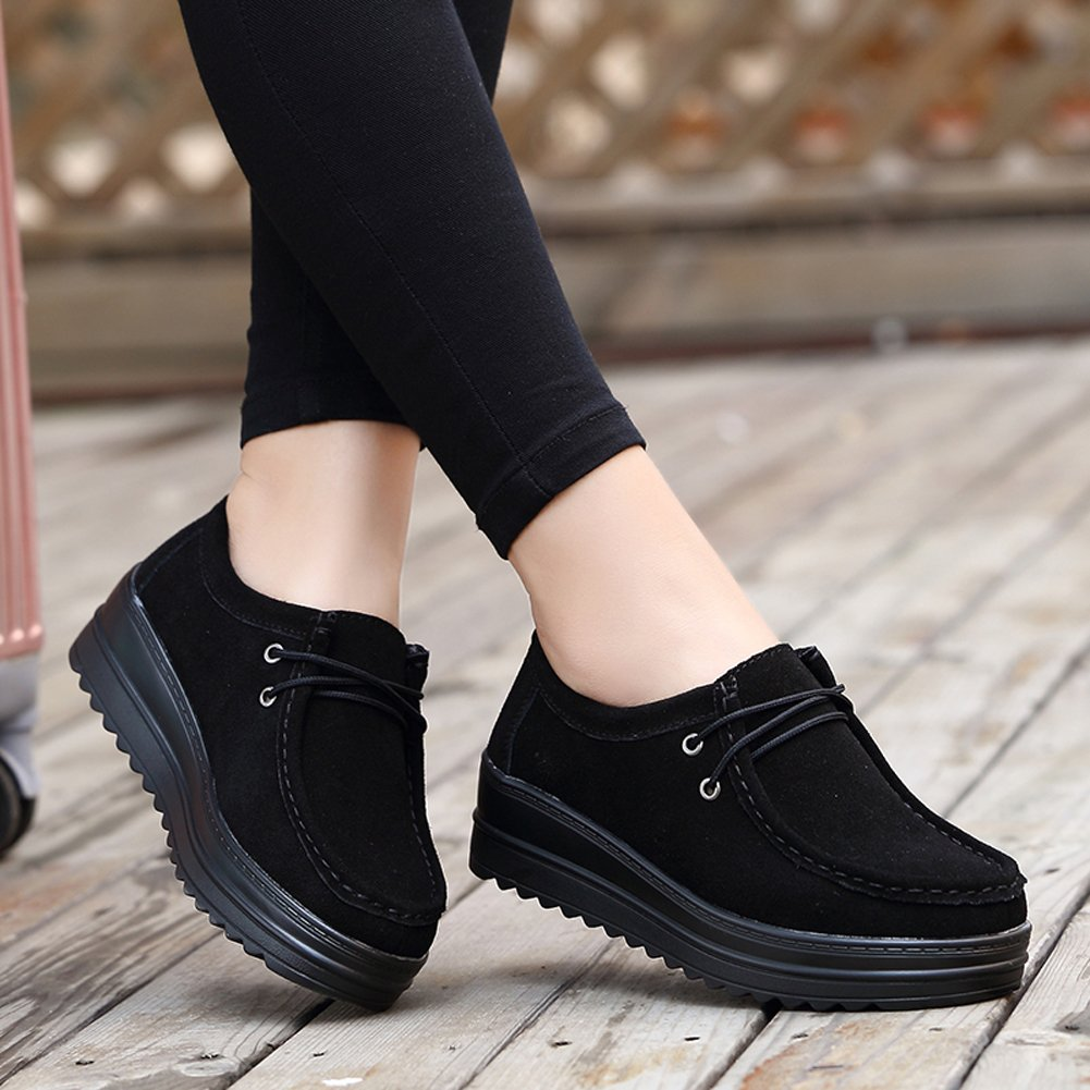 HKR-HC890-1heise39 Women Suede Lace up Platform Wedge Sneakers Round Toe Comfort Thick Sole Work Shoes Black 7.5 B(M) US by HKR (Image #2)
