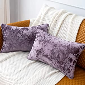 PANDATEX Pack of 2 Luxury Crushed Velvet Lavender Throw Pillow Covers for Sofa Couch Chair, 12