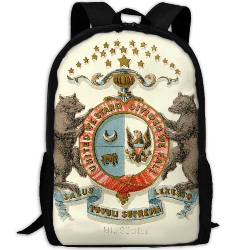 ZQBAAD Missouri State Coat Of Arms Luxury Print Men And Women's Travel Knapsack