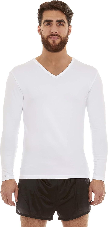 Thermajohn Mens Ultra Soft V-Neck Thermal Underwear Shirt - Fleece Lined Long Sleeve Underwear Long Johns T Shirt at  Men's Clothing store