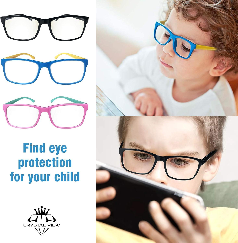 UV-Schutz f/ür die Verwendung von Handys TV Crystal View Blaulicht-blockierende Brille f/ür Kinder M/ädchen und Jungen Tablets blendfrei Videospielen Rosa//Gr/ün