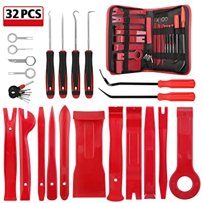 Kohree 32PCS Auto Trim Removal Tool Kit, Car Door Audio Panel Trim Removal Set, Automotive Plastic Upholstery Removal & Install Pry Tool Kit with Storage Bag: Automotive