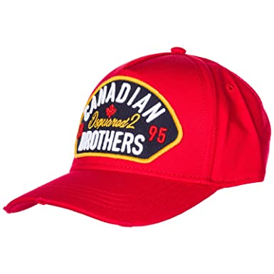 5cd232949b28b Image Unavailable. Image not available for. Color  DSQUARED2 Men Canadian  Brothers Baseball Cap Rosso