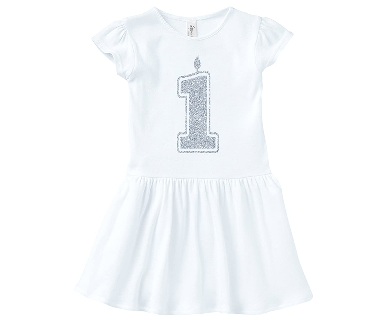 Aiden's Corner DRESS ベビーガールズ 18 Months 1 Silver White B07CVN2R7T