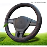 """Mr.Dakai Odorless Luxury Genuine Leather Car Steering Wheel Cover-Nontoxic - Excellent Grip for vehicles,Suv (Large 15.5"""" to 16"""", Black)"""