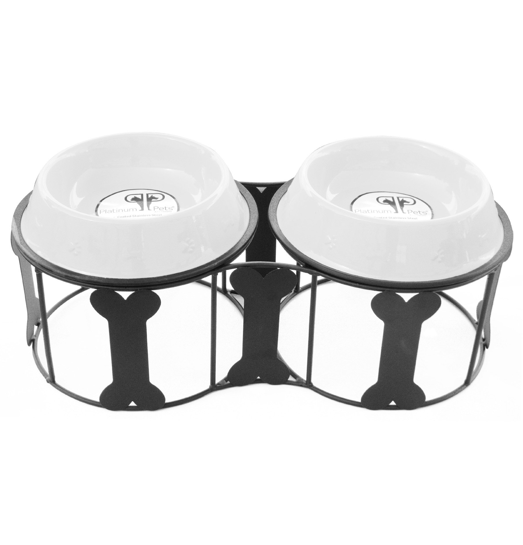 Platinum Pets Deluxe Bone Double Diner Stand with Two Pearl White 4 Cup Bowls