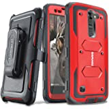 COVRWARE LG K7 / Tribute 5 / Escape 3 / Treasure / Phoenix 2 [Aegis Series] Heavy Duty Dual-Layer Full-body w/ Built-in [Screen Protector] Rugged Holster Armor Case & [Belt Clip][Kickstand], Red