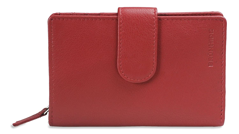 Brunhide Women's Genuine Soft Leather Purse Wallet Zip Round Design With Tab Fastener # 207-300 - Red