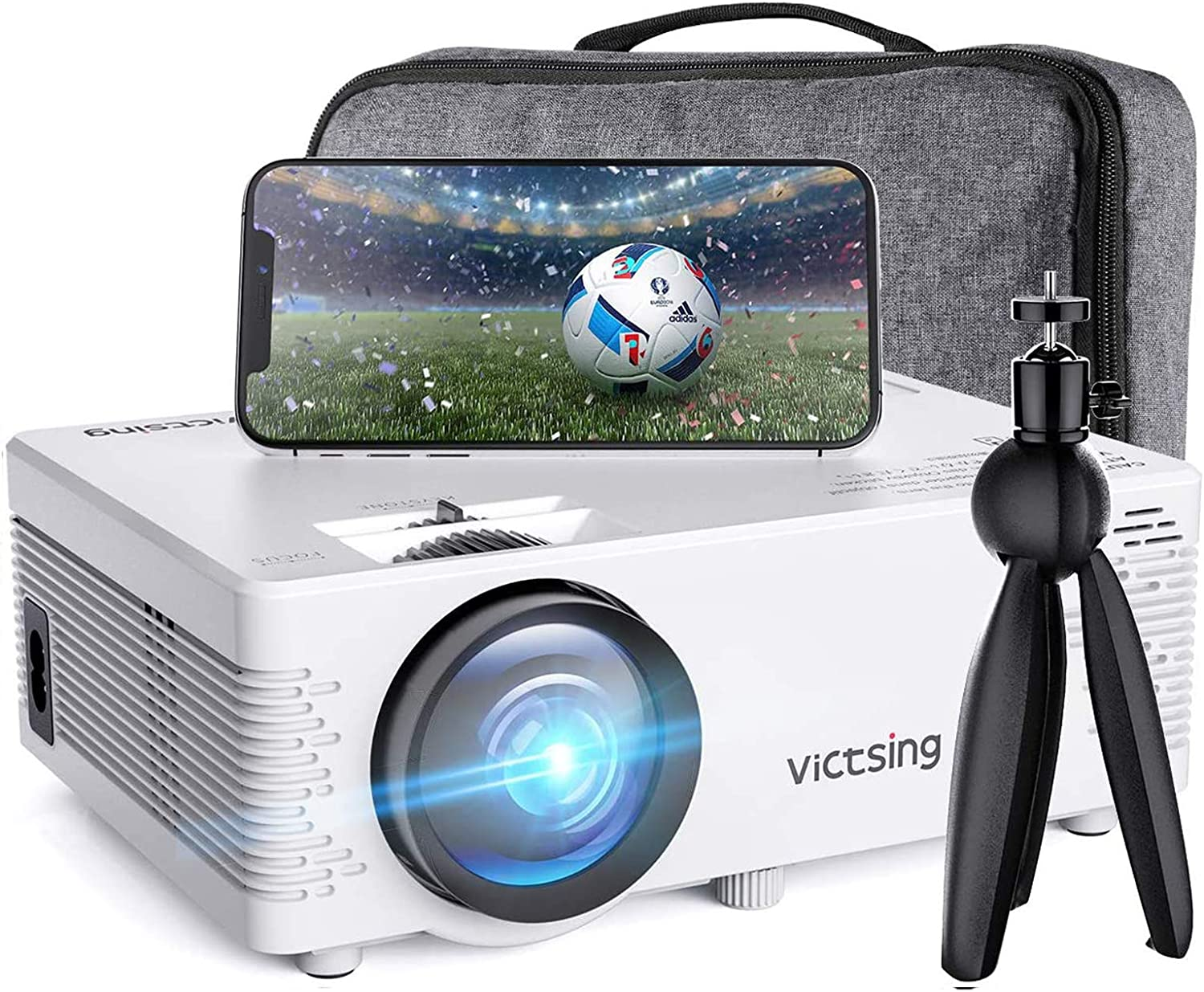 VicTsing WiFi Projector Bluetooth & Screen Mirroring, 3800 Lux Wireless Projector Bluetooth with Tripod, 1080P Supported, HiFi Sound. Mini Projector Compatible with TV Stick, PS4.(w/Customsized Bag)