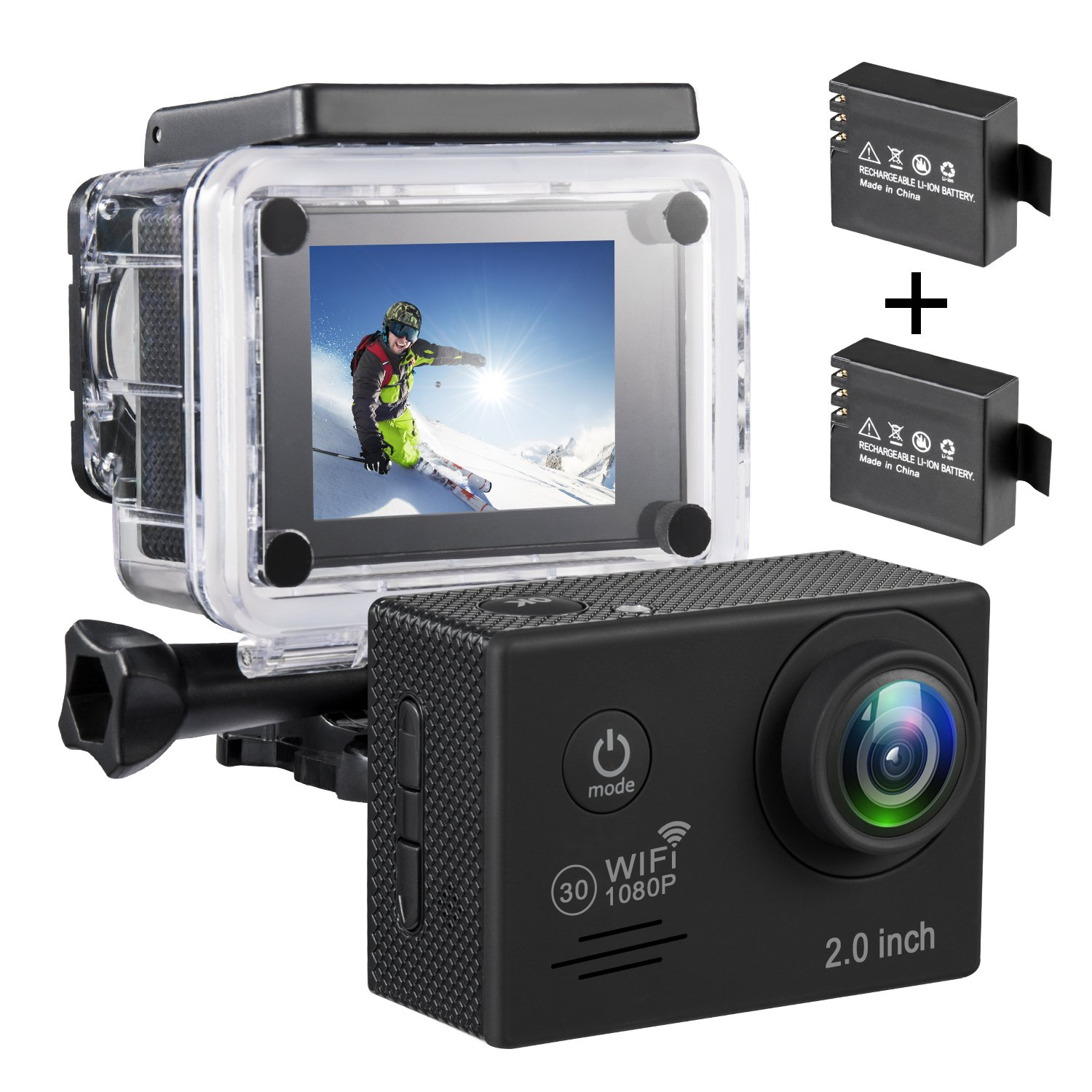 Wifi Action Camera 1080P Full Ultra HD Waterproof Sports Camera 2.0 Inch LCD Screen DV Camcorder with 2 Rechargeable Batteries (No Includes SD card)