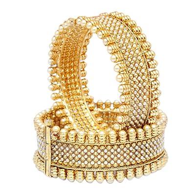 18k Gold Plated Fashion Bangle Bracelet Open Screw Bangles Set Of 2 Ethnic Style Jewelry & Watches