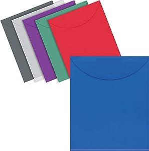 24 Plastic Envelopes, Reusable Poly Envelopes, Letter Size, Assorted Colors, Transparent, TOP Loading, with 1