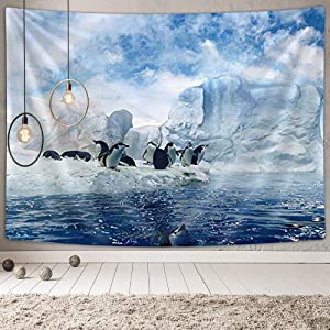 DYNH Antarctica Sea Animals Tapestry Wall Hanging, Penguins on Winter Glacier Snow 3D Tapestry Wall Blanket Decor, Hippie Tapestry for Bedroom Living Room Dorm, Panels 60 x 40 Inch