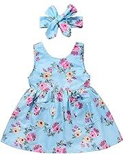 Aliven Baby Girls' 2pcs/set Floral Princess Party Flower Dresses + Bow Headband