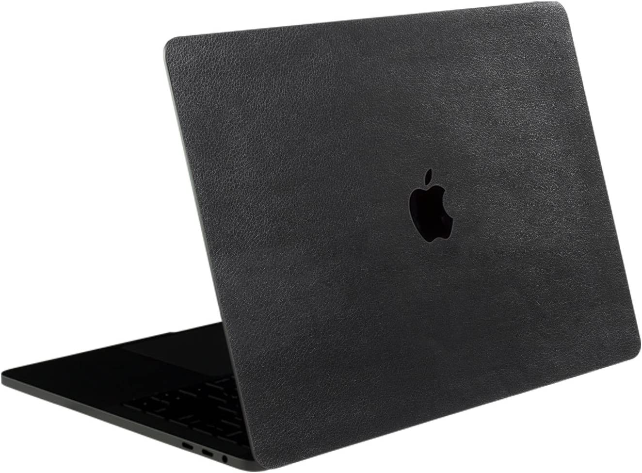 SOJITEK Black Leather Texture 4-in-1, Full-Size 360° Protector Skin Decals Sticker MacBook Pro 13 Inch (2016 2017 2018 2019 Model, with & w/o Touch Bar & ID) A1706 A1708 A1989 Black Keyboard Cover