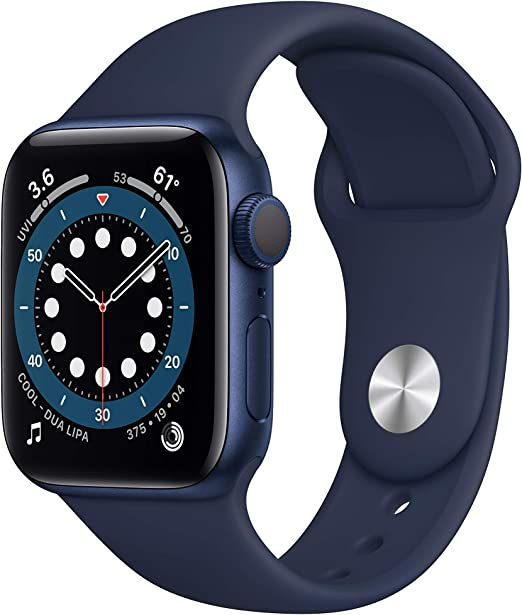 Amazon.com: New AppleWatch Series 6 (GPS, 40mm) - Blue Aluminum Case with Deep Navy Sport Band