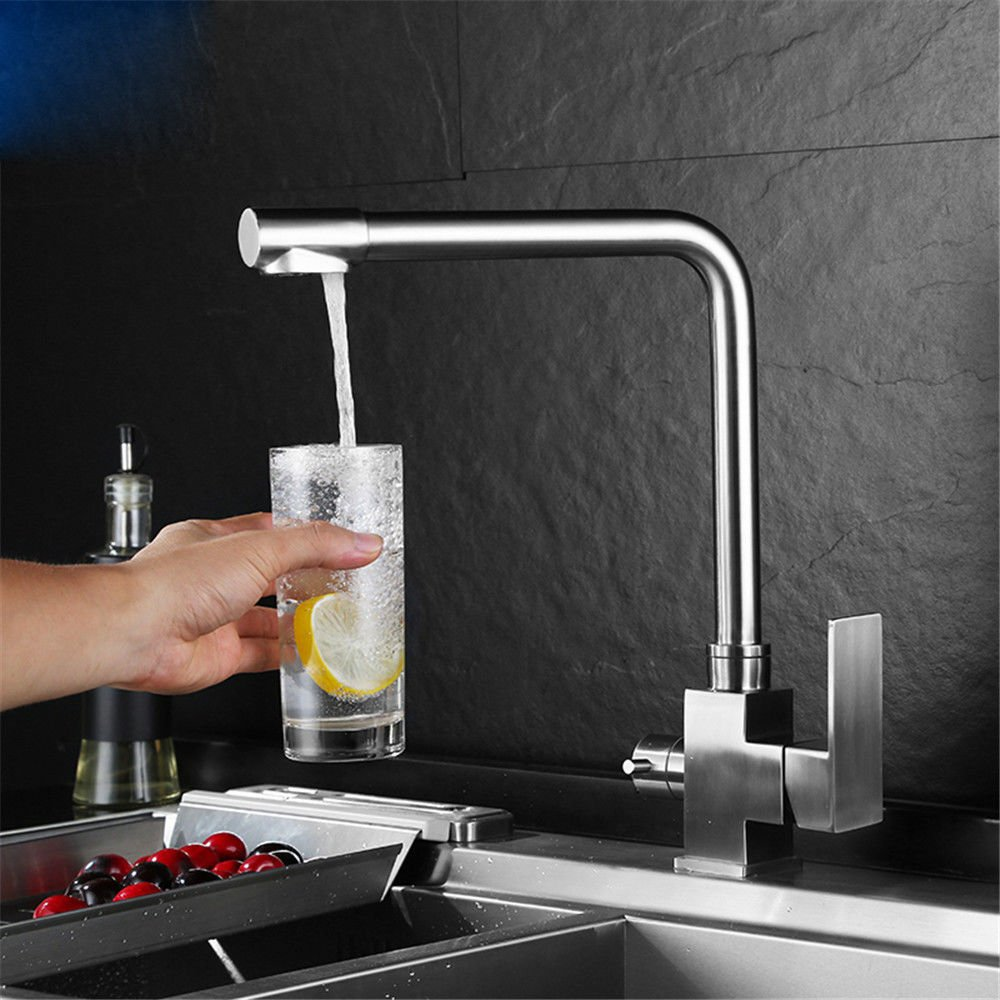 Kitchen Mixer tap 304 Stainless Steel Sink Faucet hot and Cold Pure Water 3-in-1 hot and Cold Sink Mixer Kitchen Sink tap