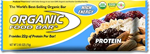 Organic Food Bar – Protein Bar, Perfect On-The-Go Food, 22 Grams of USDA Organic Vegan Protein Pack of 12, 2.6 oz