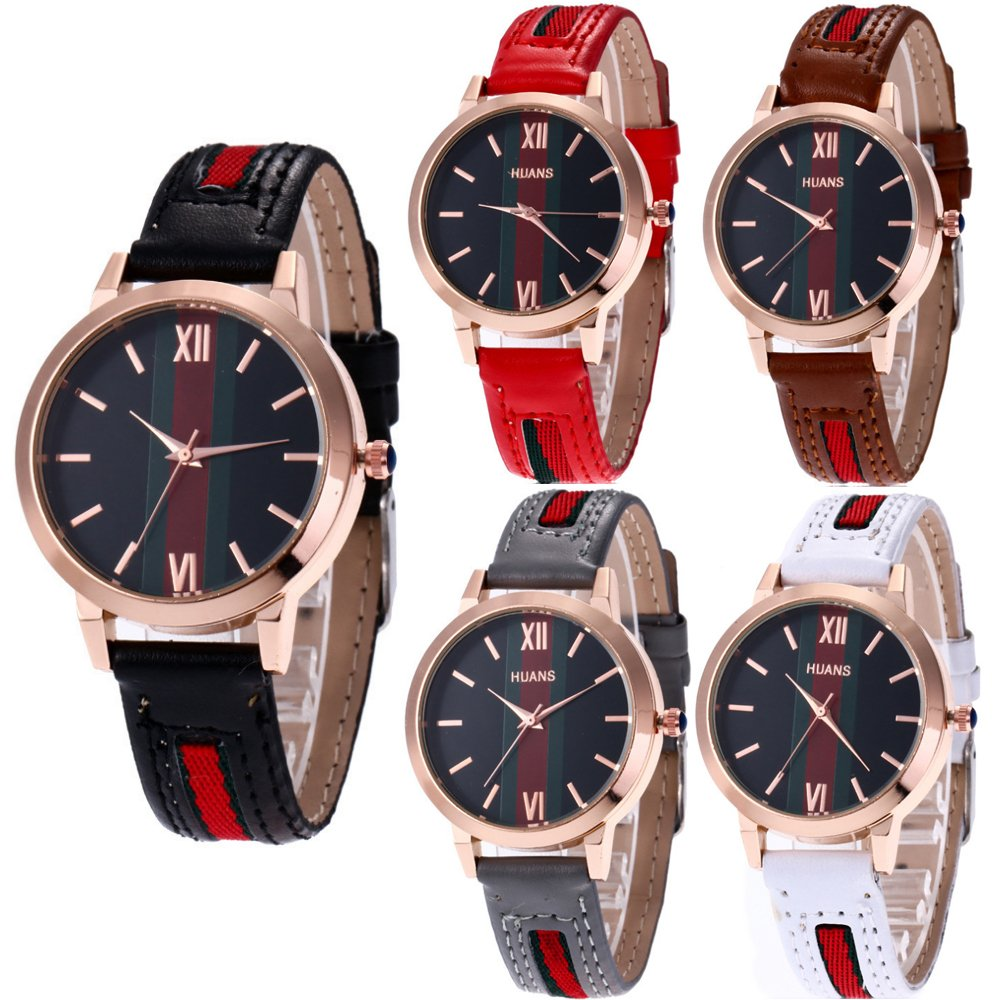 CdyBox Wholesale 5 Pack PU Leather Watch Analog Quartz Wristwatches for Women Men Lady Teen Girl