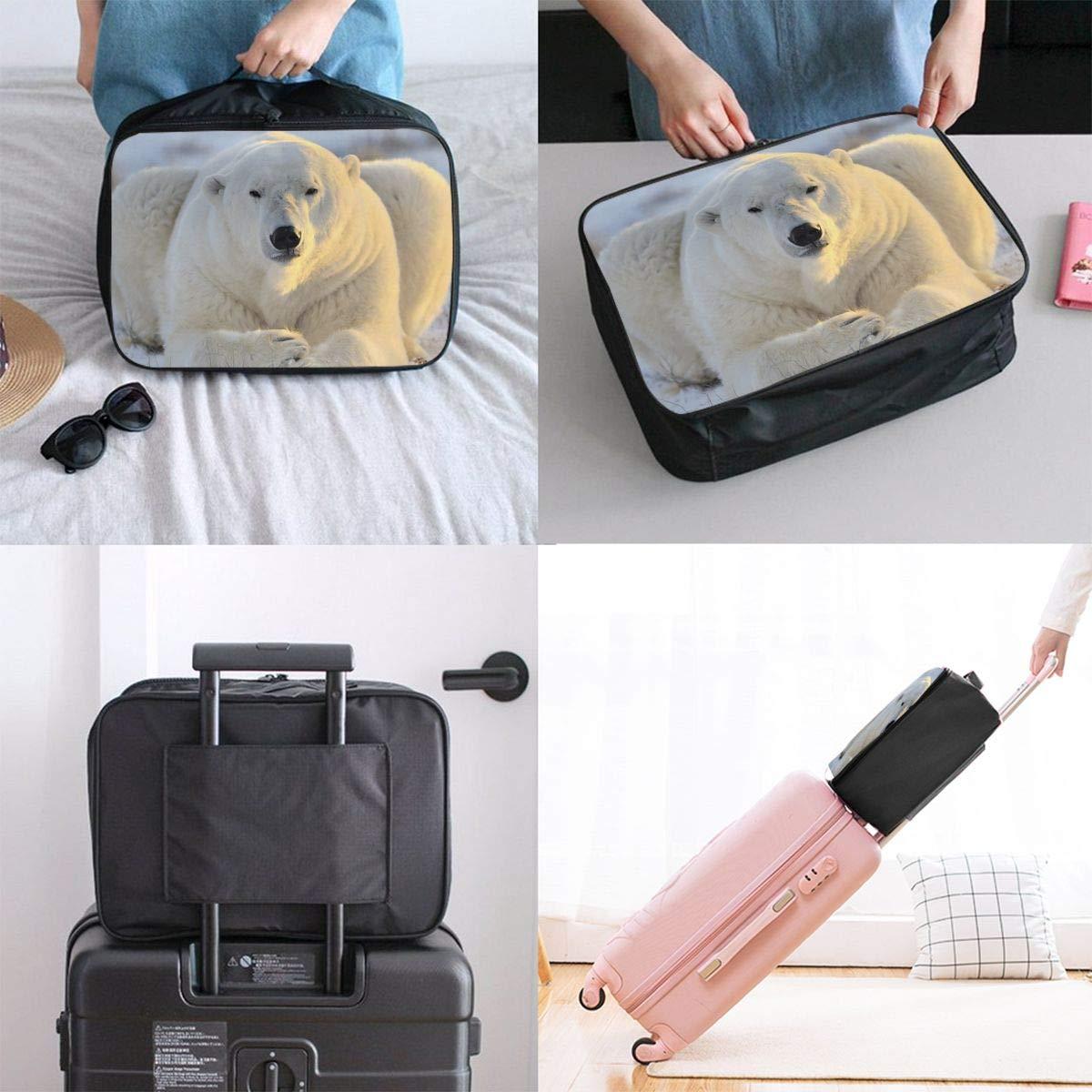 Travel Luggage Duffle Bag Lightweight Portable Handbag Snow Polar Bears Print Large Capacity Waterproof Foldable Storage Tote