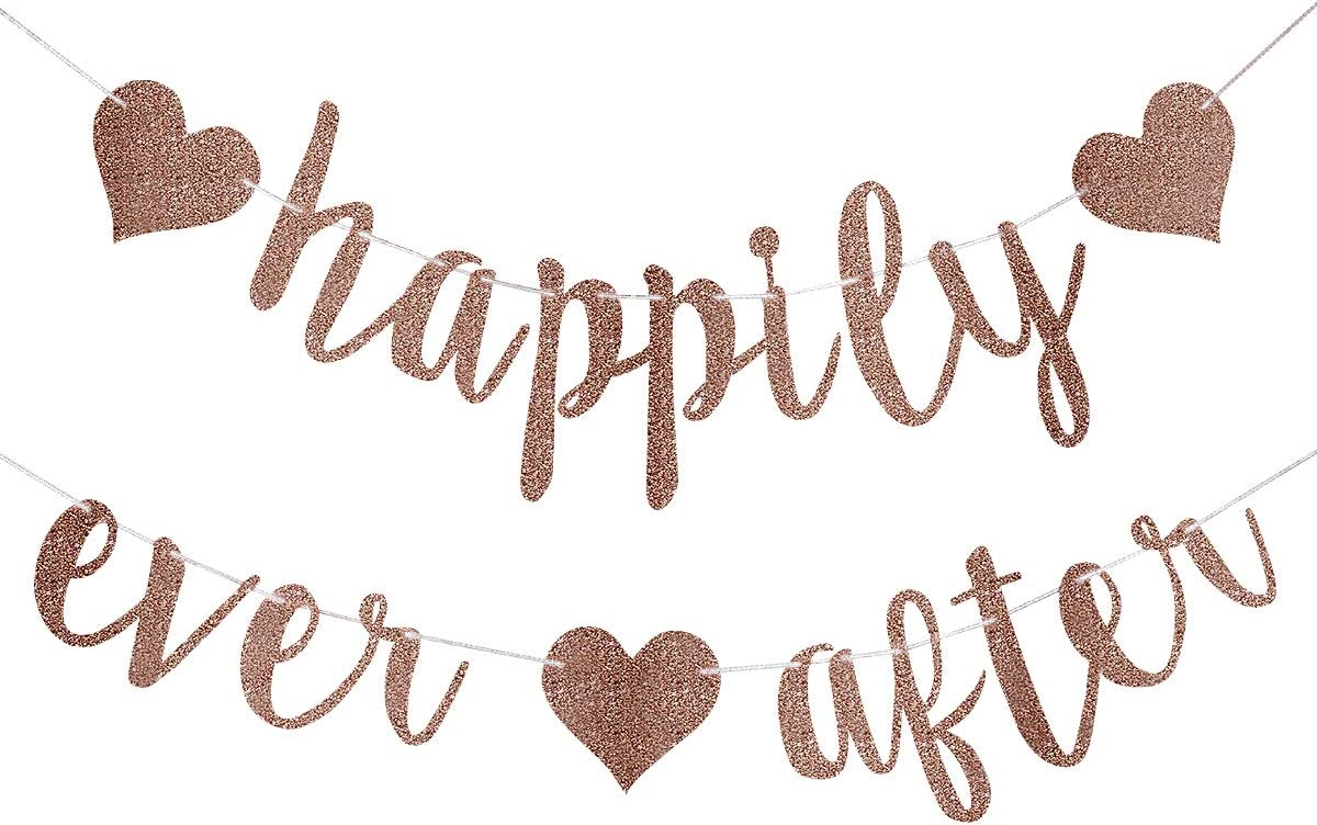 Happily Ever After Banner Rose Gold Glitter,Wedding Bachelorette Engagement Party Bridal Shower Party Decoration Supplies