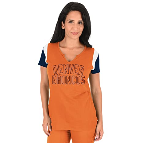 195abe57 Profile Big & Tall NFL Denver Broncos Adult Women NFL Plus S/Notch V  Neck,3X,Orange/Navy