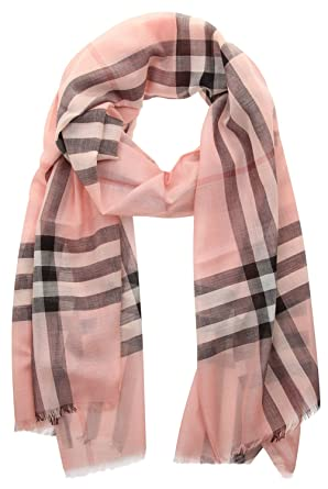 Lightweight Check Wool and Silk Scarf - Pink & Purple Burberry Dfi3xHNLnA