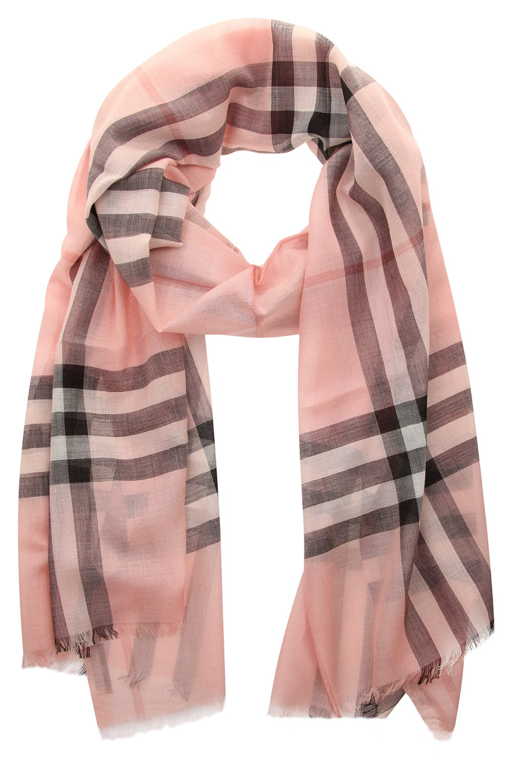 Burberry Lightweight Check Wool and Silk Scarf - Ash Rose by BURBERRY
