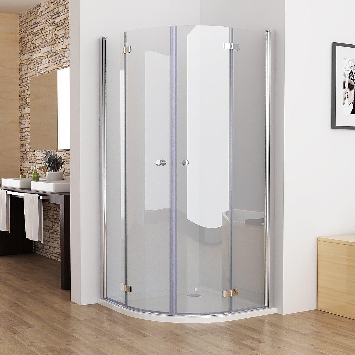 90 x 197 cm alrededor de ducha mampara de ducha plegable puerta de cabina de ducha de cristal de cuarto de círculo de Nano DS: Amazon.es: Bricolaje y herramientas