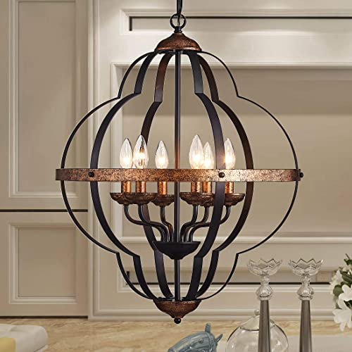 TZOE Orb 6-Light Chandelier Rustic Vintage Metal Chandelier Black Copper Foyer Chandelier Adjustable Height Dining Light Bedroom Lights,Living Room Lighting Kichlen Chandelier UL Listed