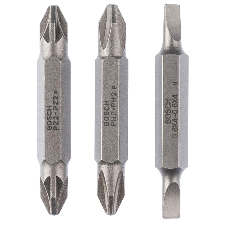 Bosch 2607001747 Pack de 3 embouts de tournevis doubles S 1, 2 x 6, 5 S 0, 6 x 4, 5 S 0, 8 x 5, 5/ PZ1 PZ2 PZ3/ 60 mm Bosch Professional
