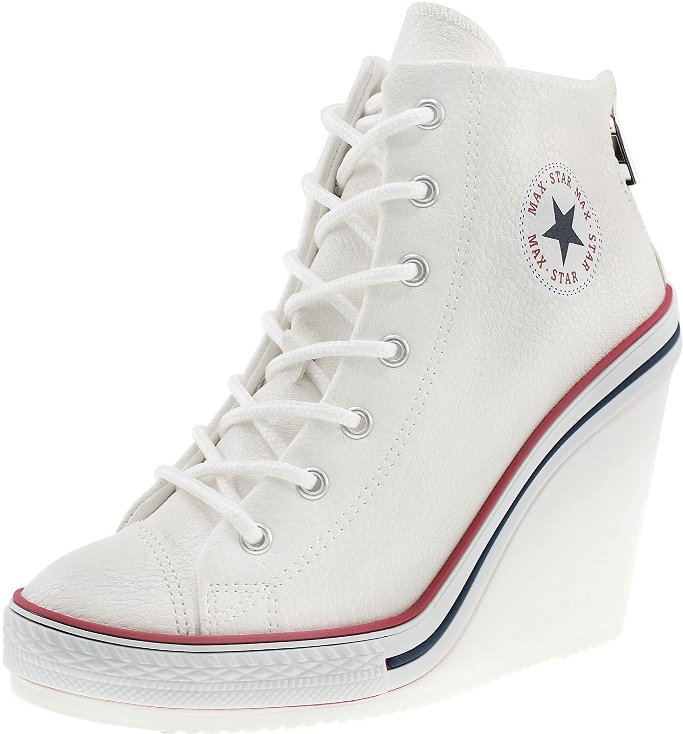 Maxstar Women's 777 Back Zipper PU High Wedge Heel Sneakers B00XTIKKTG 8 B(M) US|White