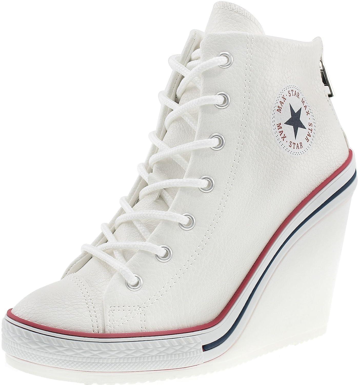 Maxstar Women's 777 Back Zipper PU High Wedge Heel Sneakers B00XTIKNWU 8.5 B(M) US|White