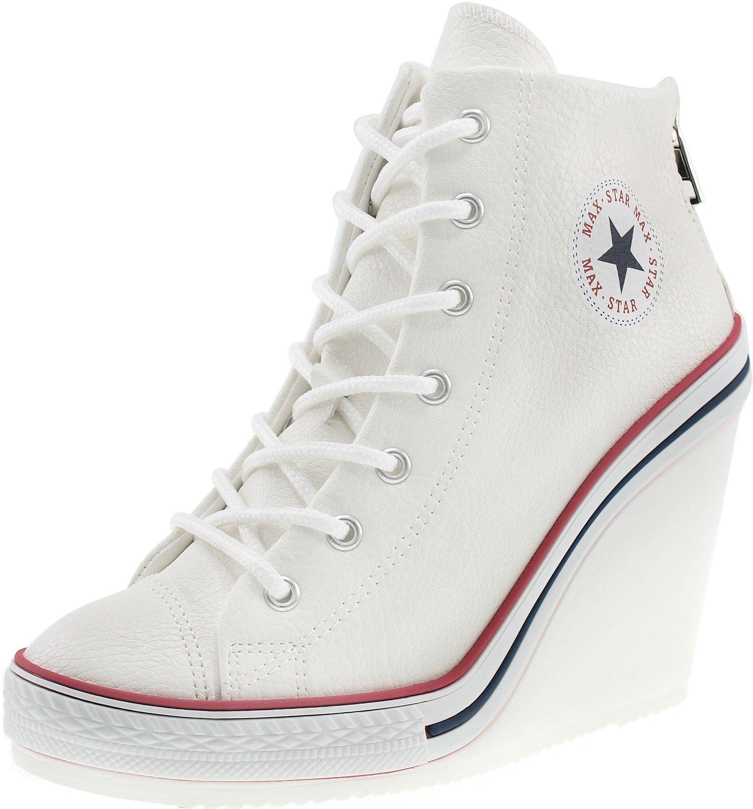 Maxstar Women's 777 Back Zipper PU High Wedge Heel Sneakers White 8 B(M) US