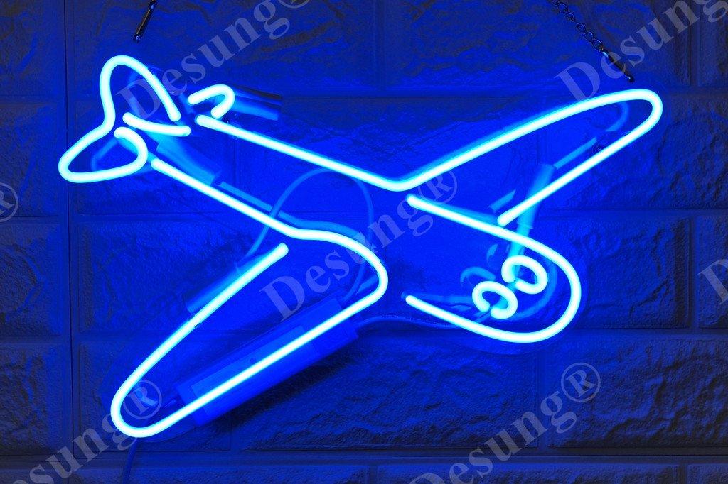 Desung Brand New 14'' Plane Airplane Gift Lamp Decorated Acrylic Panel Handmade Custom Design Neon Sign Light WD34