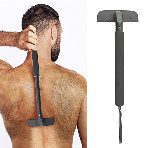 "Back Shaver Body Groomer for Men - Back Razor Blade - Adjustable Long Shaving Handle (11.0"" Length, Black)"
