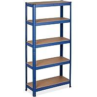 Relaxdays 10034153 Estantería Pesadas, 150 x 75 x 30 cm, Capacidad de Carga de 875 kg, 5 estantes, para Fijar, sótano y…