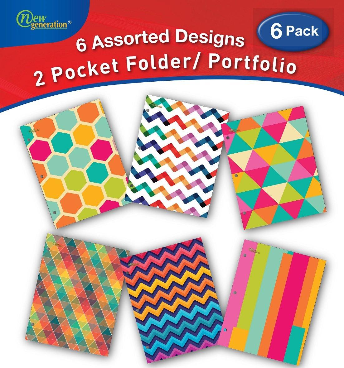 New Generation - Pattern - 2 Pocket Folder/Portfolio 6 Pack, 3 Hole Punch 6 Fashionable Designs,UV Laminated Folders, Back to School/Campus Supply. (6 Pack FOLDERS)