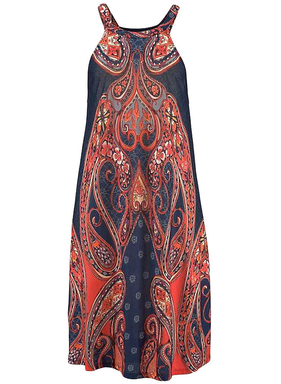 Happy Sailed Damen /Ärmellos Schulterfrei Druck Strandkleid Minikleid Sommerkleid Tunikakleid Strandtunika Beachwear S-XL